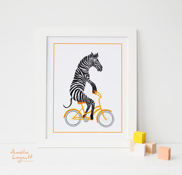 Zebra on bike, Print, Drawing