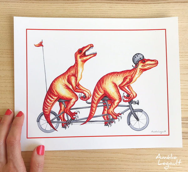 Raptors on a tandem bike, art print, dinosaur drawing, dinosaur theme, kid's room decor