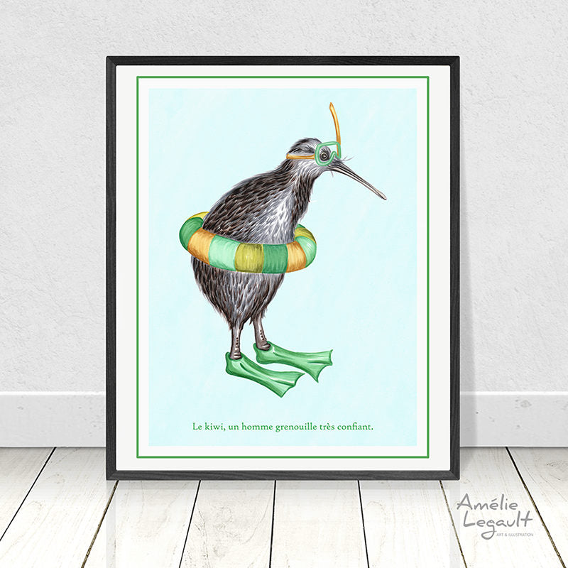 Snorkeling kiwi bird print, home decor, wall art, drawing