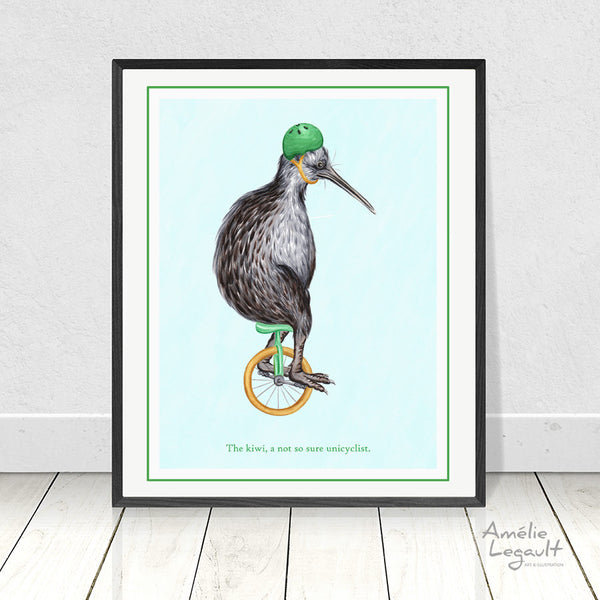 Unicycling, unicycle print, kiwi bird, art print, home decor, kiwi drawing, kiwi print, amelie legault new zealand