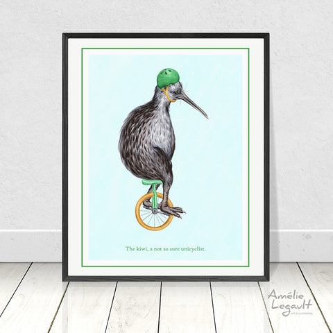 Unicycling kiwi bird, print, home decor, drawing