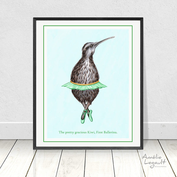 Kiwi bird, ballerina, baller, art print, home decor, Kiwi bird, kiwi illustration, kiwi art, art print, amelie legault, kiwi love, new zealand