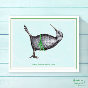Kiwi bird doing karate, print, home decor, wall art