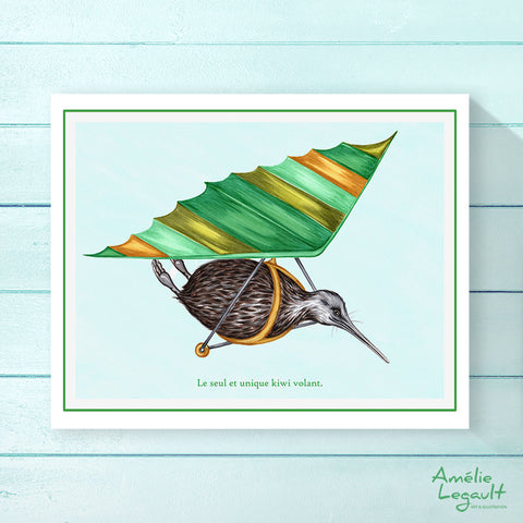 Flying Kiwi bird print, hang glidding drawing, Home decor