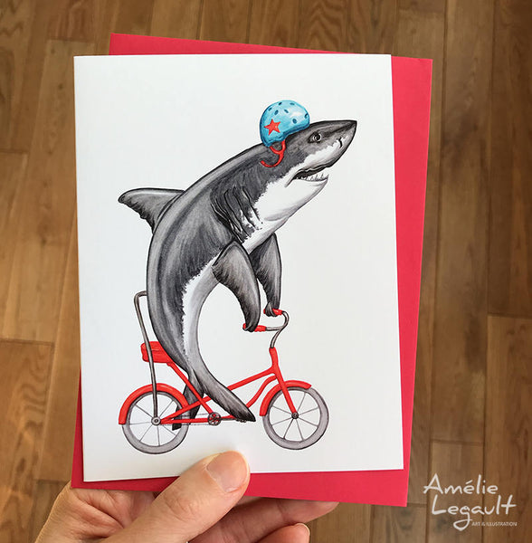 Shark riding a bike, birthday card