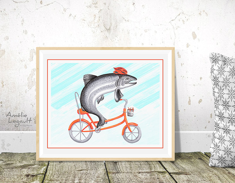 Trout riding a bicycle print