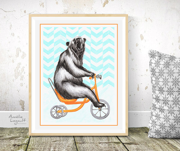 Bear on a bike,  art Print, bear Drawing, bear illustration, bear print, bear decoration, amelie legault, bicycle artwork, bicycle illustration