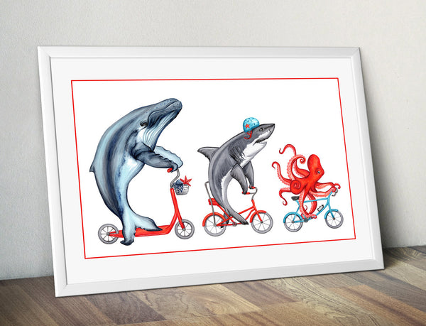 Sea animals print  octopus, shark, whale