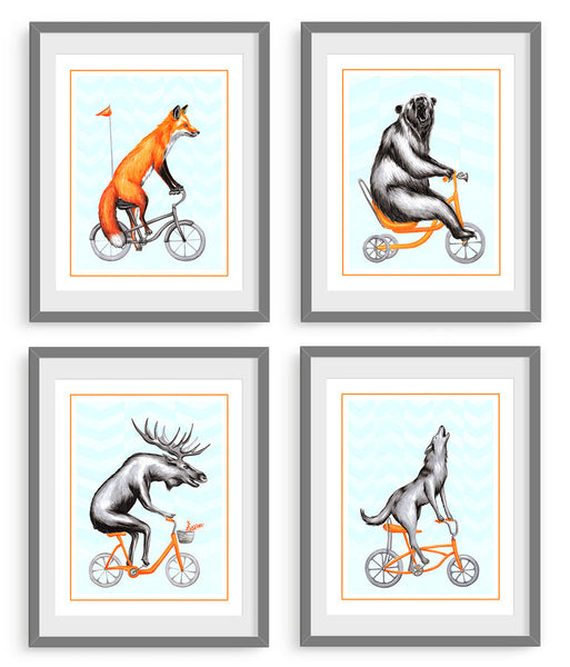 Animals on bikes, art print set, forest animals, canadian animals, amelie Legault, illustration, drawing