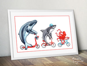Whale, Shark and Octopus on bike, Print, Drawing, Home decor