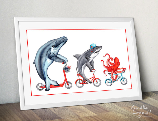 3 sea animals on bicycles, art print, sea animals drawing, home decor, washroom decor, amélie legault, kid's room decor