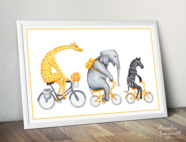 Giraffe, Elephant, zebra, print, home decor