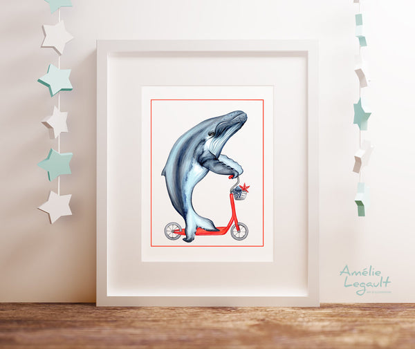 Whale on a scooter, art Print, Home decor, whale decoration, sea theme, amelie legault, whale illustration, whale drawing, whale art work