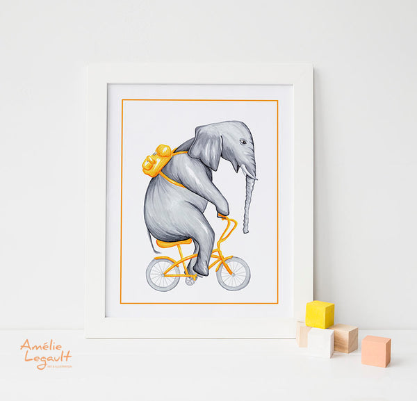 Elephant on bike, print, drawing