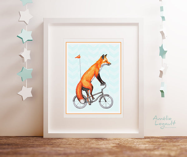 Fox on bike, print, drawing