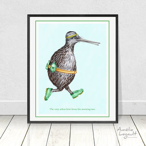Kiwi bird jogging, print, wall art