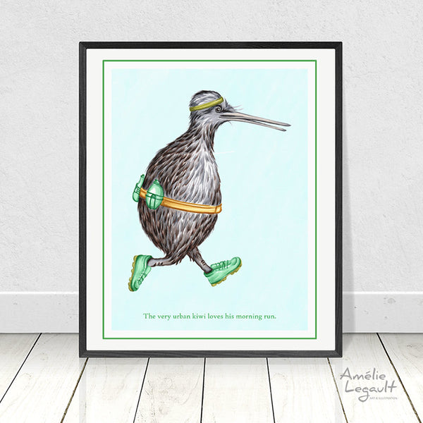 Kiwi bird jogging, print, wall art, Kiwi bird, kiwi illustration, kiwi art, art print, amelie legault, kiwi love, new zealand
