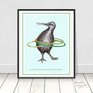 Kiwi hula hoop, Print, Home decor
