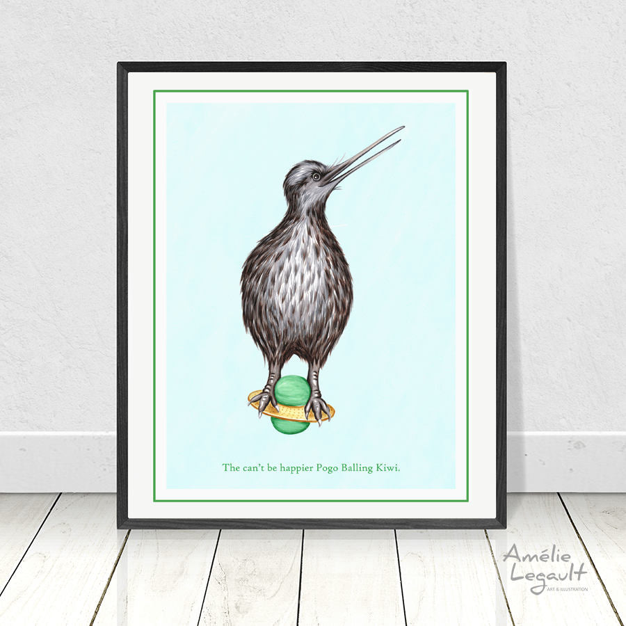 Kiwi bird doing pogo ball, print, home decor, wall art