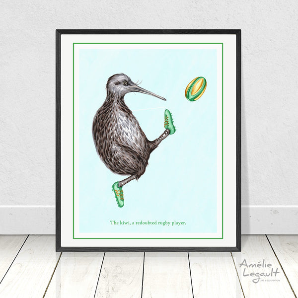 Kiwi, kiwi illustration, rugby, art print, home decor, amelie legault, kiwi drawing, rugby art, rugby illustration, new zealand