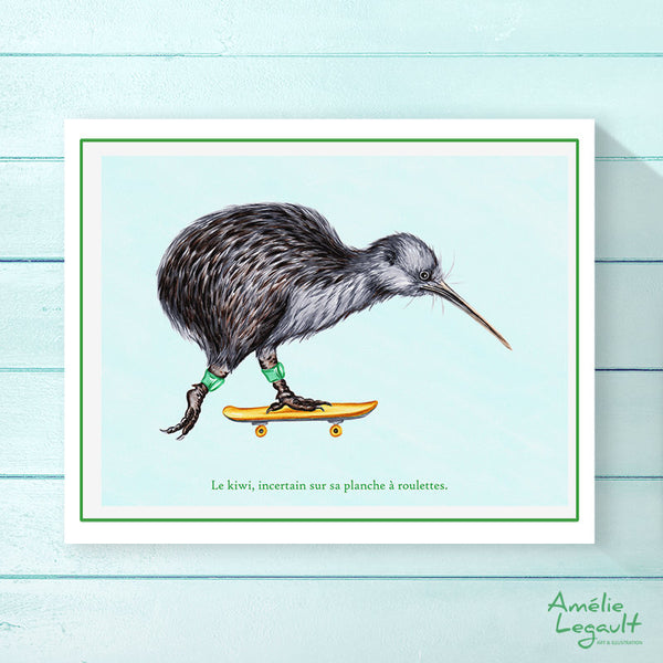 Skateboarding kiwi bird, Print, Home decor, Wall Art