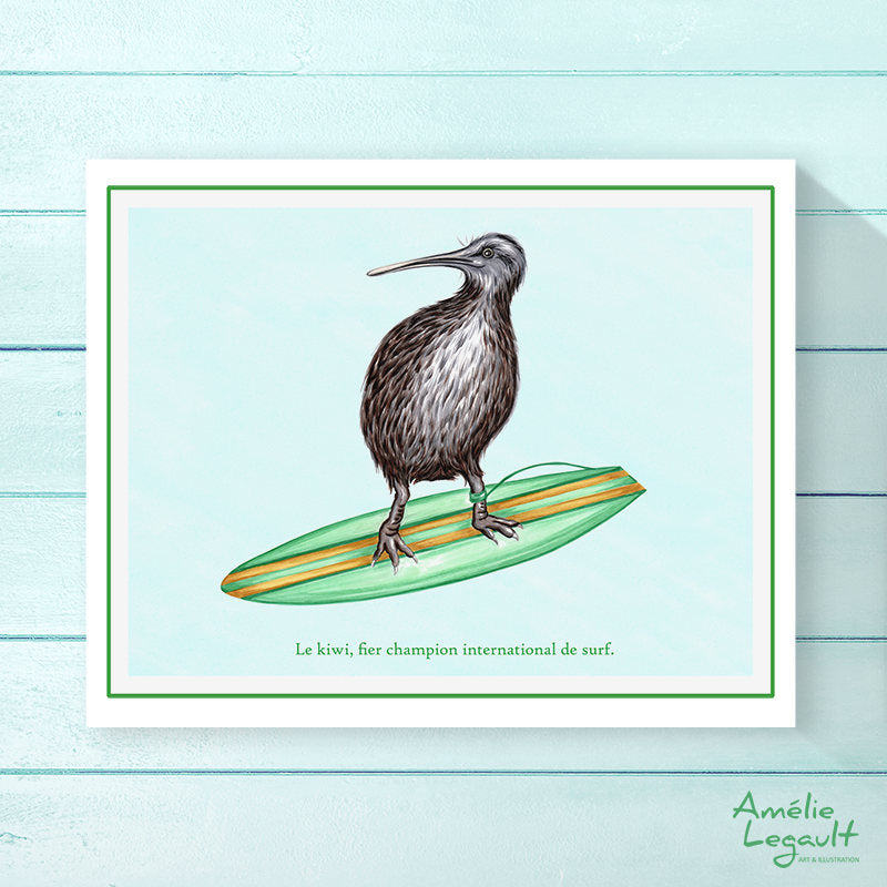 Surfing Kiwi Bird, Print, Home decor, Wall art, drawing