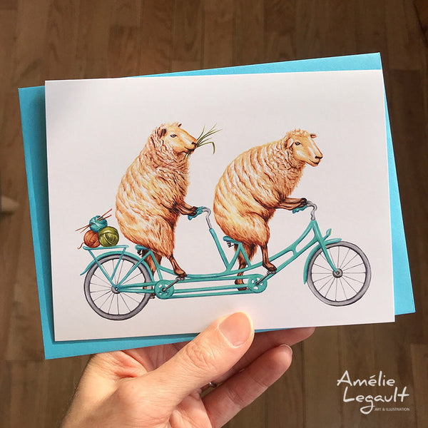 Sheeps riding a bike, greeting card