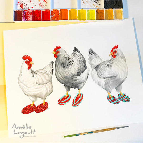 Hens, Chickens wearing slippers, art Print, gouache Painting, Home Decor, amelie legault, canadian artist, made in canada