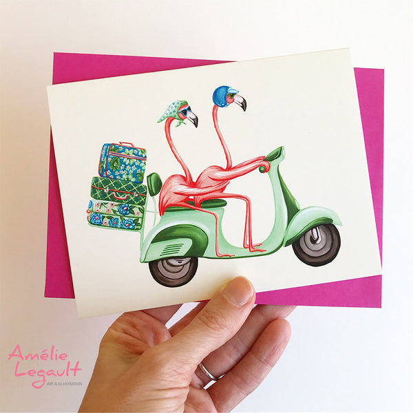 Pink Flamingo, birthday card, wedding card, vespa, scooter, amelie legault, valentine's day card