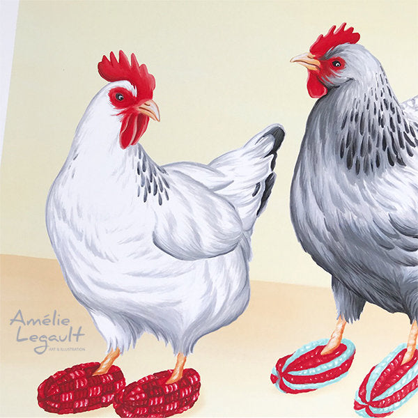 Hens, Chickens wearing slippers, art Print, gouache Painting, Home Decor, amelie legault