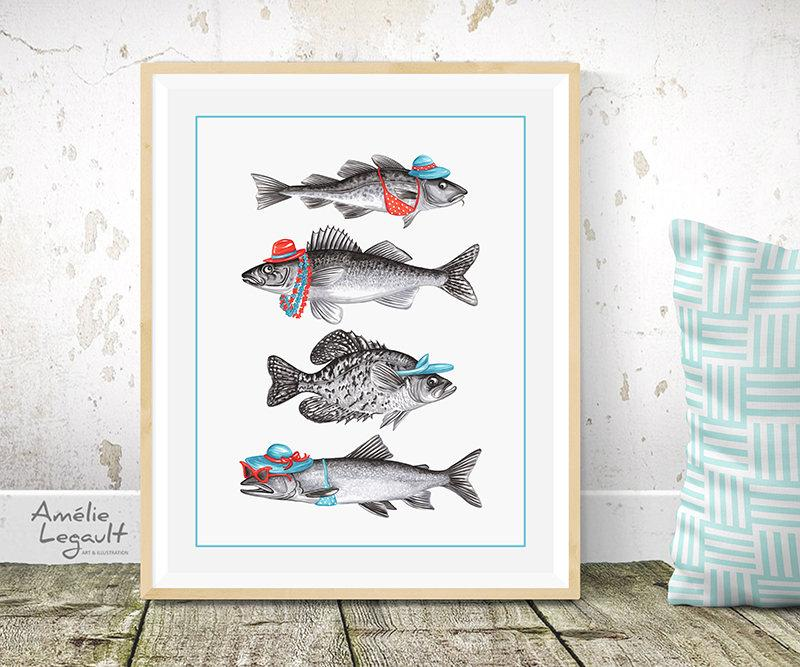 Dressed fish, Summer fish, Print, Drawing