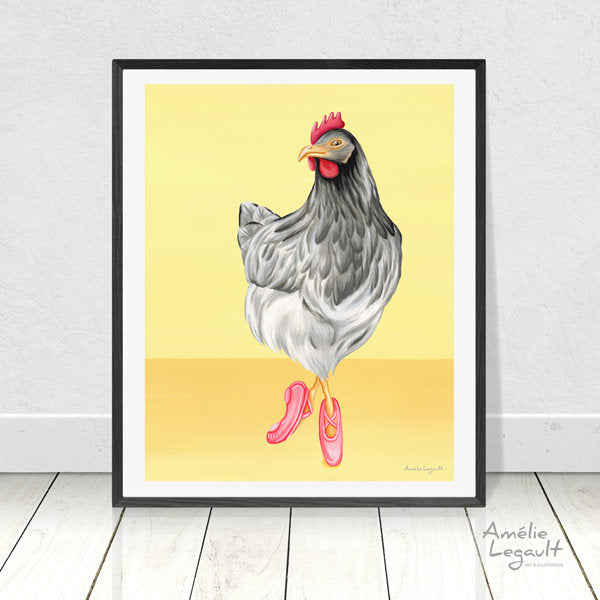 Ballerina chicken, Hen doing ballet, Print, Gouache, Painting, Wall art