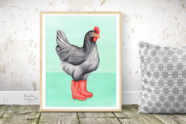 Chicken wearing rain boots, Print, Home Decor, Painting
