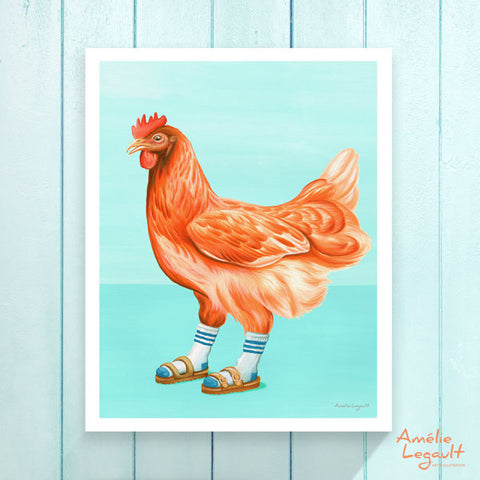 Hens, Chickens wearing sandals with socks, Print, Home decor, Wall art, Painting