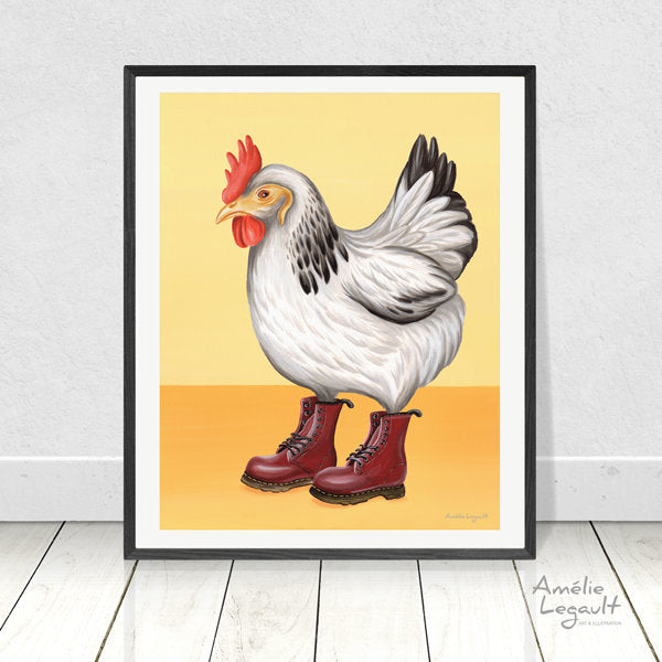 Hens, Chickens wearing doc martens boots, Print, Home decor, Wall art, Painting