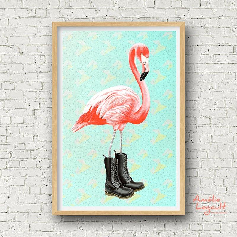Pink Flamingo wearing Doc Martens boots, Print, home decor