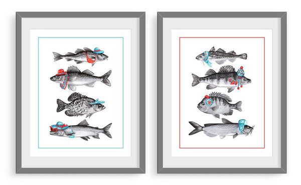 Fish print set, Winter and summer fish, canadian fish, canadian artist, canadian art, amelie legault, fish art prints, fish art work