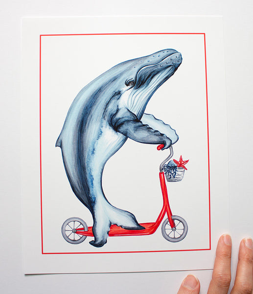 Whale on a scooter, under the sea, art Print, Home decor, sea theme print, sea them decor, kid's room decor, amélie legault