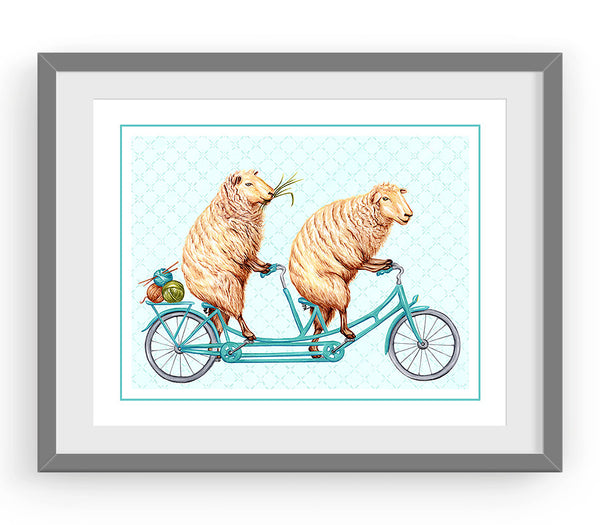 Sheeps riding a tandem bike, art print, sheep drawing, amélie legault, sheep illustration