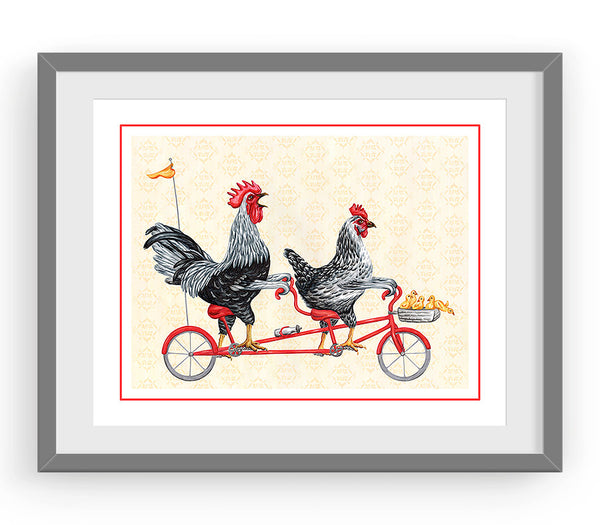 Rooster, hen and chicks on bicycle, print