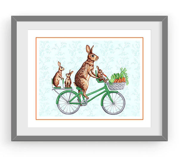 Bunnies on bike print, drawing