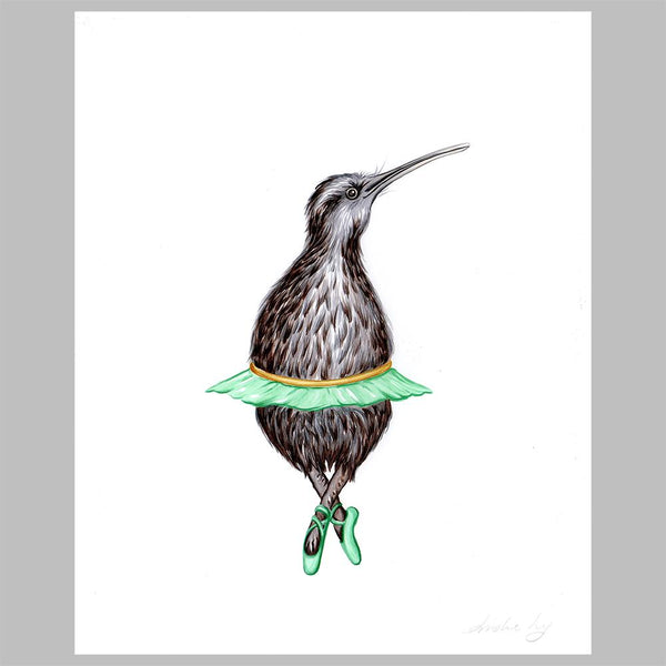 kiwi bird illustration, amelie legault, original artwork, ballet, ballerina, new zealand