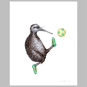 kiwi bird illustration, amelie legault, original artwork, football, new zealand