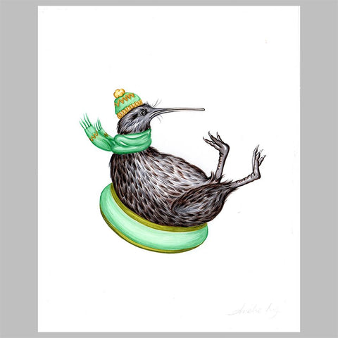 kiwi bird illustration, original artwork, amelie legault, slide, new zealand