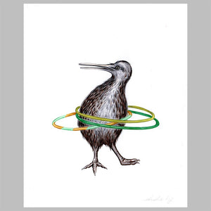 Kiwi bird illustration, amelie legault, original artwork, hula hoop, new zealand