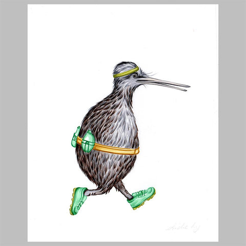 Kiwi bird illustration, amelie legault, original artwork, jogging, new zealand