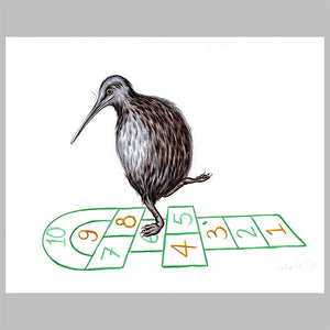hopscotch, kiwi bird illustration, amelie legault. original artwork, new zealand