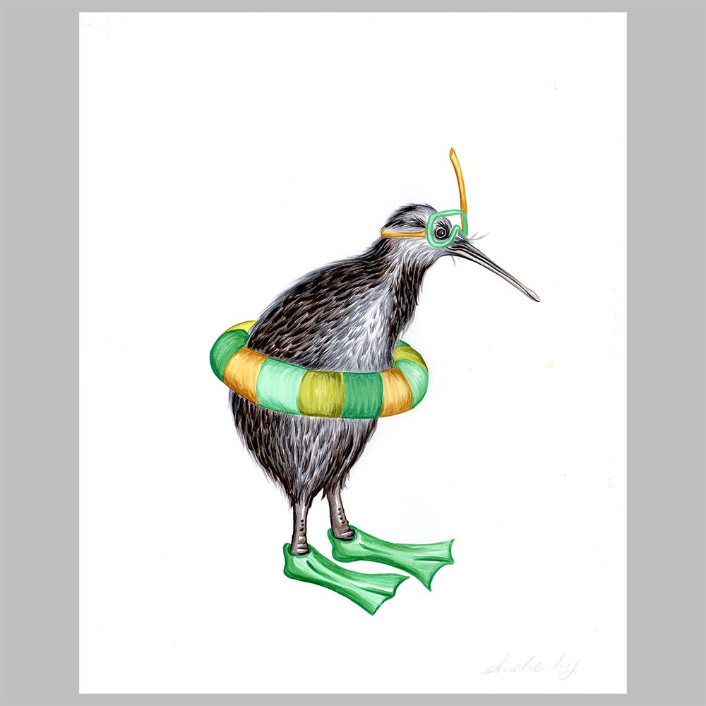 kiwi bird illustration, amelie legault, original artwork, diver, diving, new zealand