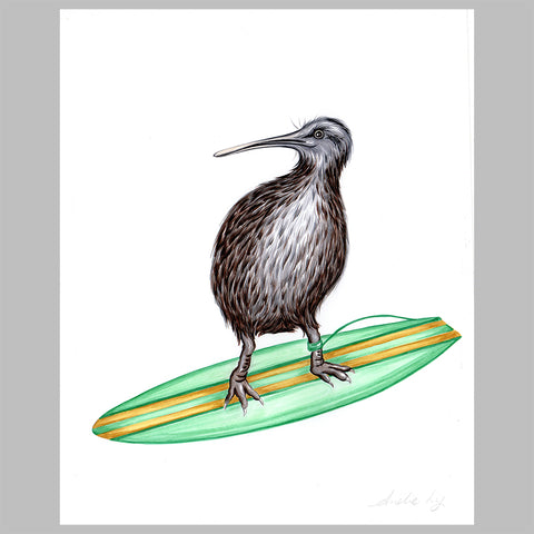 Kiwi bird illustration, original artwork, amelie legault, surf, new zealand