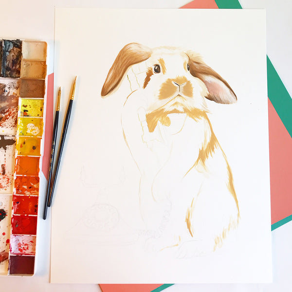 rabbit painting, rabbit illustration, gouache painting, holland hop, canadian artist, amelie legault